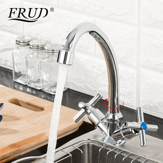 Dolandırıcılık yeni varış sıcaklık ayarlı mutfak musluğu çift kolu tek delik lavabo musluğu soğuk ve sıcak su mutfak musluk bataryası R40112
