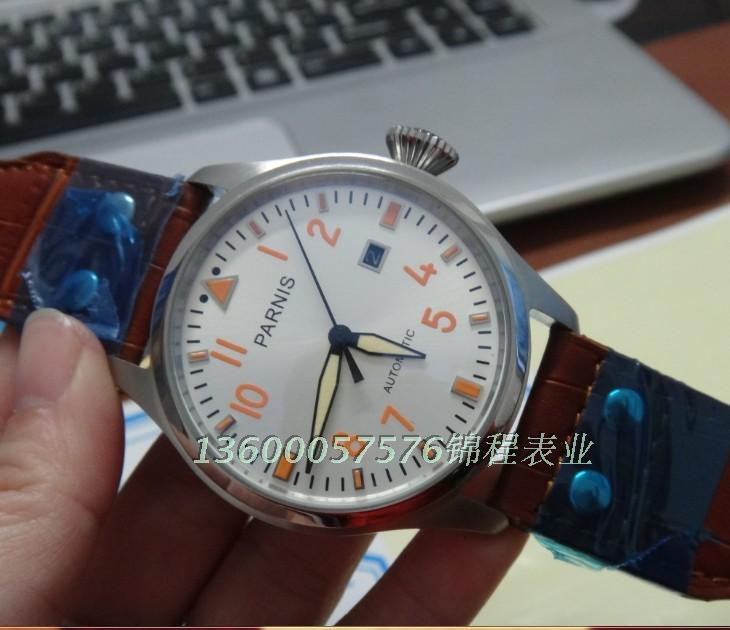 47mm PARNIS Automatic Self Wind movement men s watches big pilot dial High quality Watch wholesale