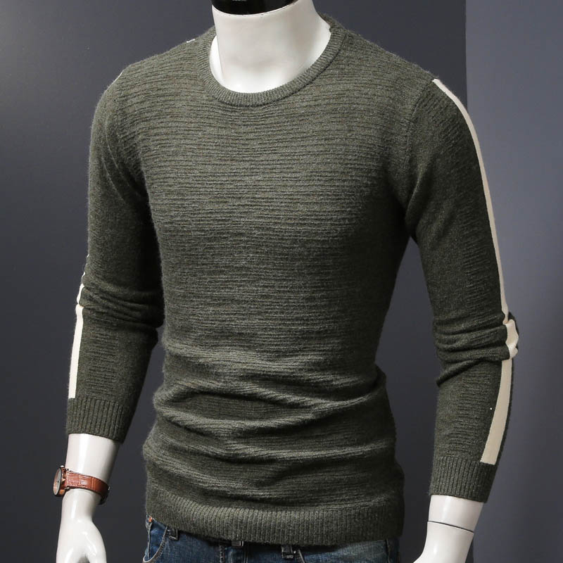 Мужской зимний свитер вязаный пуловер Свитера Осень и весна тонкие мужские топы tide man Одежда - Цвет: gray green