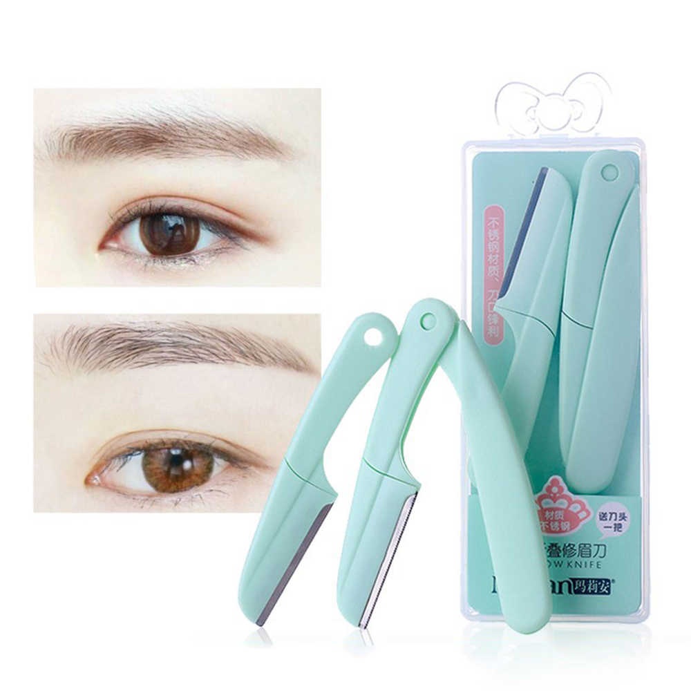 2 ピース/セット女性眉毛トリマー眉毛キット折りたたみ交換可能なシェーバーひげ除去カミソリポータブル簡単に使用