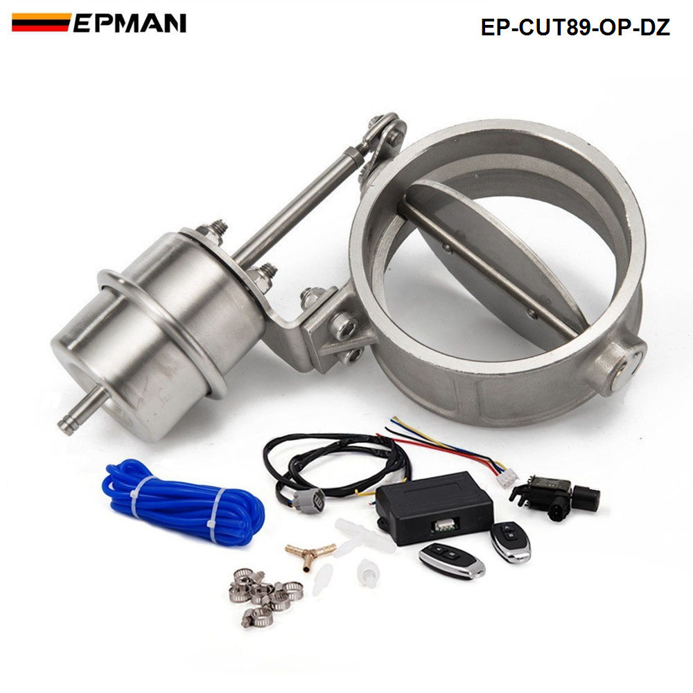 Exhaust Control Valve Set With Vacuum Actuator CUTOUT 89mm Pipe OPEN STYLE with Wireless Remote Controller EP-CUT89-OP-DZ exhaust control valve set cutout 3 76mm pipe close style with vacuum actuator with wireless remote controller set tk cut76 cl dz