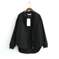 ז 'קט נשים שחור עד Zip המוצק התגודדות צוואר מקרית סימטרי סתיו מעילים בסיסיים