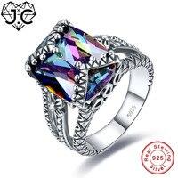 JC Fine Jewelry Solitaire Unisex Rainbow & Morganite Topaz 925 Sterling srebrny Pierścień Rozmiar 6 7 8 9 Dla Miłośników Prezenty Świąteczne
