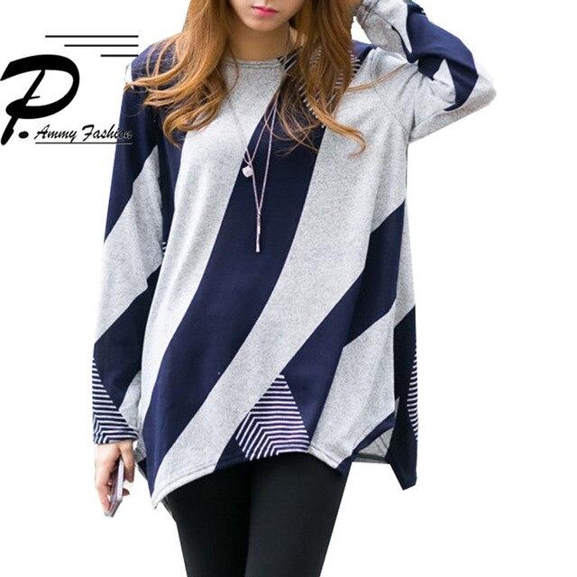 Autumn Plus Size Long Sleeve Irregular hem Loose T Shirts 2018 Autumn Lagenlook Crew Neck  Shirts Casual Loose Tops T-Shirts Tee