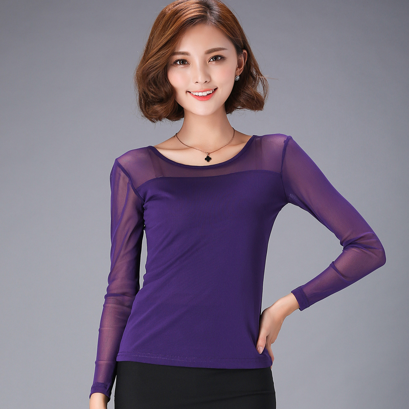 Sexy Mesh Long Sleeve Female Shirts Tops Slim Elastic Women Blouse O Neck Bottoming Solid Modis Femme Shirt 2019 Spring New