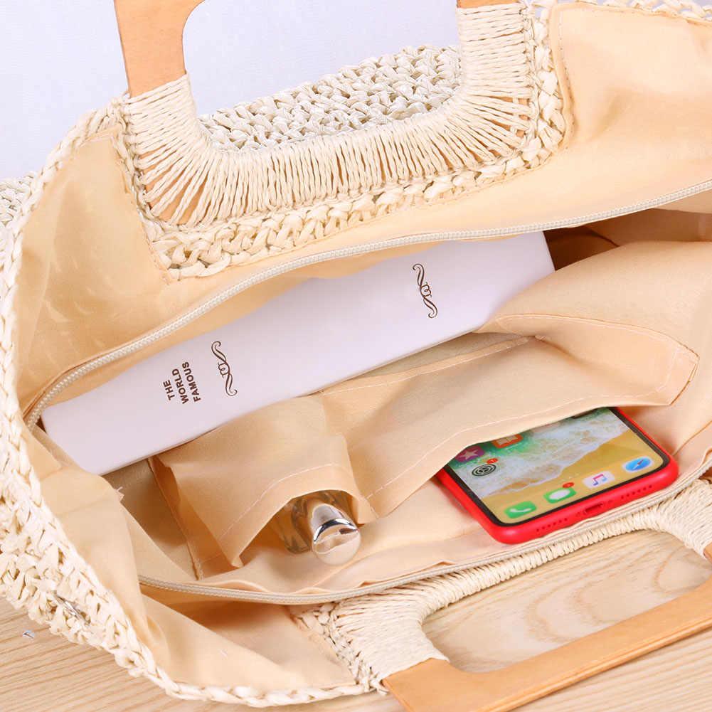 Женские соломенные сумки, Большая вместительная винтажная сумка из ротанга ручной работы, для пляжа, лето 2019