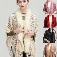 Women Faux Fur Collar Cape Shawl Tassel Knit Women's Pashmina Autumn Winter Ladies Scarves Stoles Solid Cashmere Poncho Cachecol