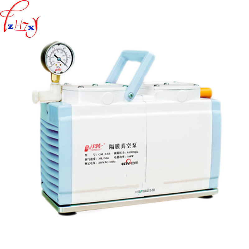 GM-0.5B double pump negative pressure type oil-free diaphragm vacuum pump laboratory industrial diaphragm vacuum pump 220V 1pc free shipping 220v ac gz35b 220 70l min vacuum flow diaphragm vacuum pump with 100w power oil free double heads vacuum pump