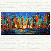 Handpainted Chicago Painting City Lights Oil Painting Modern Street Lights Palette Knife Oil Abstract for wall decoration