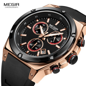 Image 3 - Megir Sports Silicone Chronograph Quartz Watches Army Casual Waterproof 24 hour Analogue Wristwatch for Man Black Rose 2073 1N0