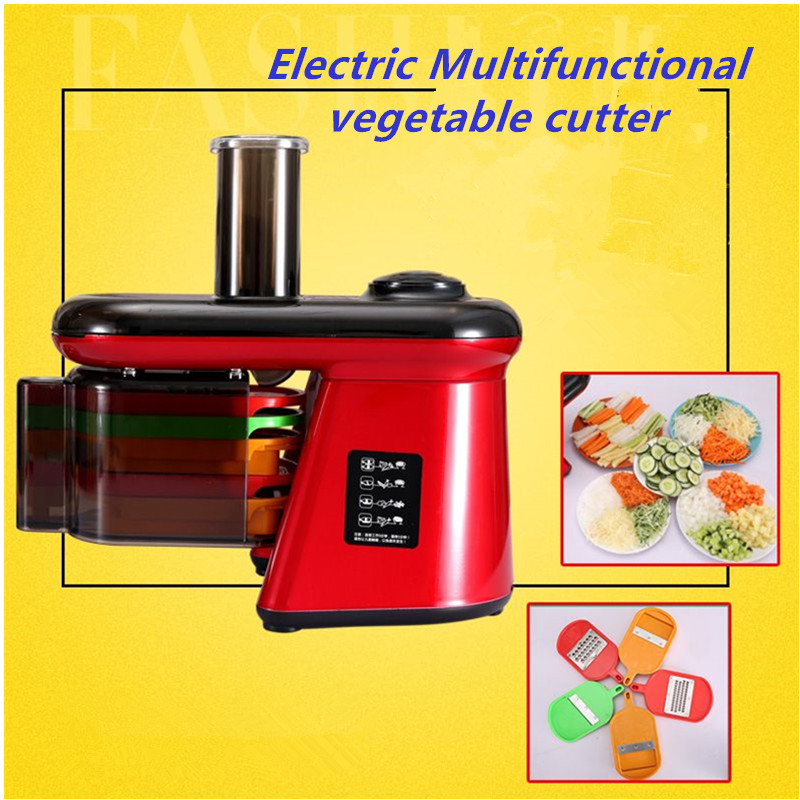 Electric and multifunctional vegetable cutter,vegetable crushing machine,cut into shreds,slices,dices and strips for home use multifunctional fruit and vegetable processing peel cutter device green