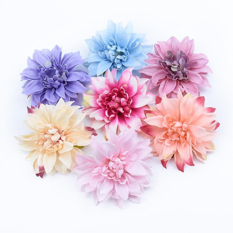 Artificial Flowers 10CM Decorative Flowers Wreaths Fake Plants Stamen A Cap Silk Gerbera Ornamental Flowerpot Wedding Home Decor