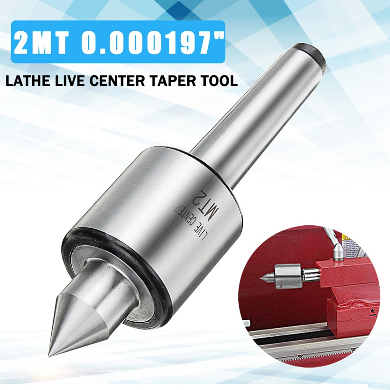 "Wolike Alloy Steel Silver MT2 0.000197"" Lathe Live Center Taper Tool Live Revolving Milling Center Taper Machine Accessories"