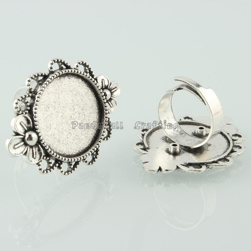 Vintage Adjustable Iron Finger Ring Components Alloy Flower Cabochon Bezel Settings, Antique Silver, Flat Round Tray: 20mm; 17mm