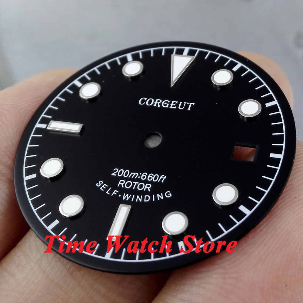 Corgeut 30.4mm black dial luminous white marks Watch Dial fit ETA 2824 2836 MIYOTA 8215 821A Automatic Movement D32