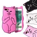 Kisscase cat teléfono de bolsillo de la historieta case para iphone 6 6 s 7 plus 5S sí capa animal cubierta de goma suave para iphone 7 6 6 s plus fundas