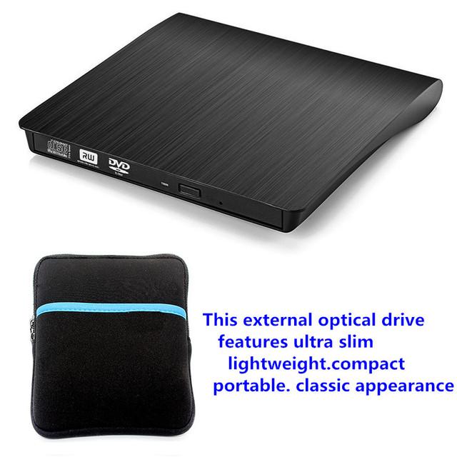 Portátil USB 3.0 Externo Unidade Óptica DVD pode queimar sua tecnologia de queima de disco único + saco de Disco