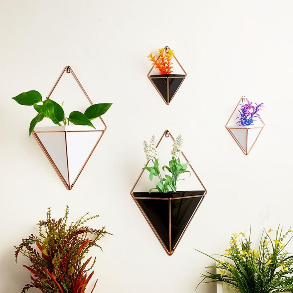 Acrylic Flower Pot Iron Plant Holders Set Indoor Hanging Planter