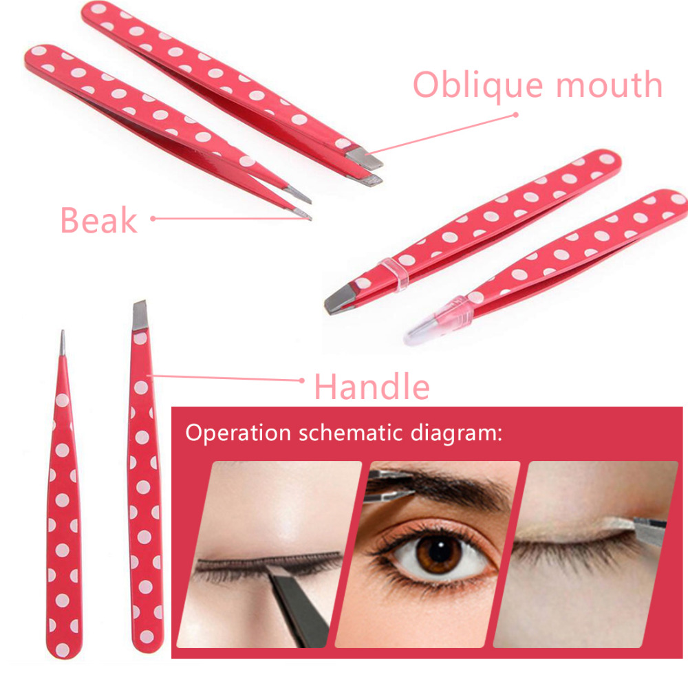 2pcs/set Tip and Flat Heads Stainless Steel Pink Dots Eyebrow Tweezer Clip Hair Removal Beauty Fuctional Makeup Tool Kit