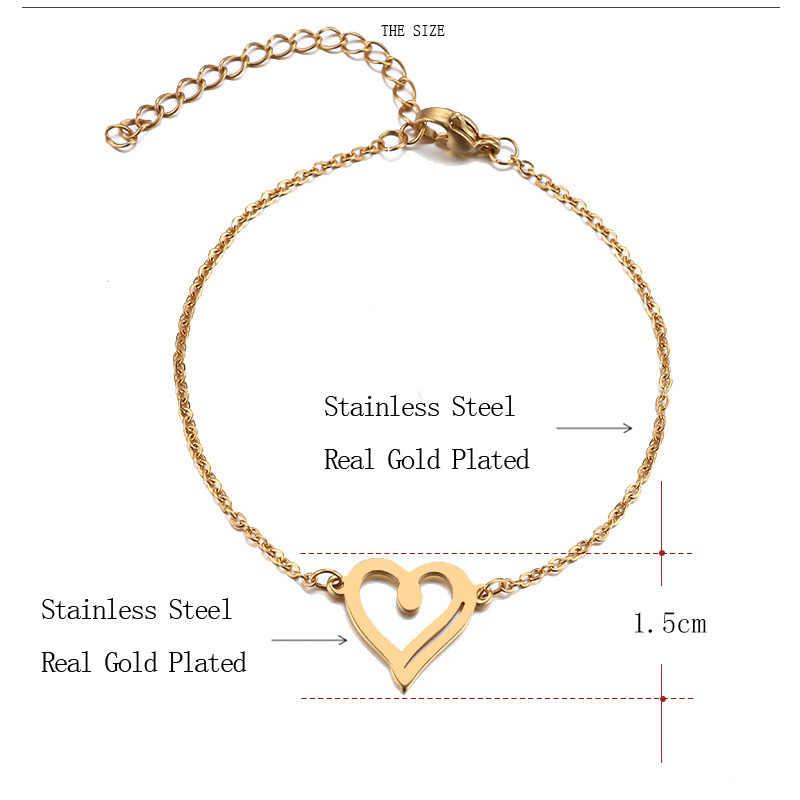 DOTIFI bransoleta ze stali nierdzewnej dla kobiet Man Hollow złote serce i kolor srebrny Pulseira Feminina Lover's biżuteria zaręczynowa