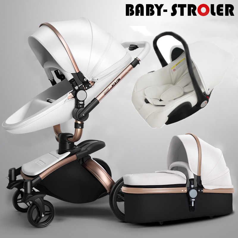 Aulon בייבי עגלת 3 ב 1 משלוח חינם! ממותג עגלת תינוק, אקולוגי עור עגלת תינוק, אירו רכב מושב, סל, ערש עבור ne
