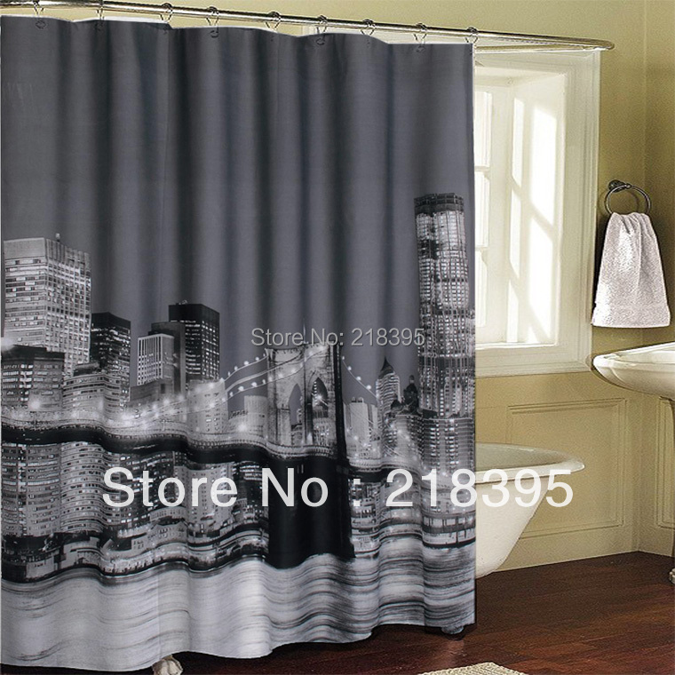 Shower curtain waterproof bath curtain New York City Brooklyn Bridge ...