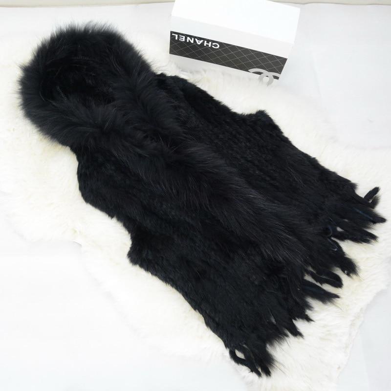 Capuche De Brown Réel black Lapin Hiver Collier Gilet Femmes Raton Tricoté Chaud S1609 Laveur Fourrure Natural Avec Max Jancoco ABwzyqHy