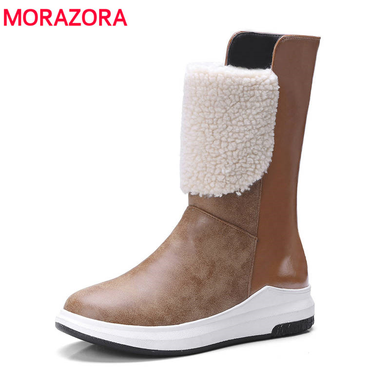 MORAZORA 2018 round toe short plush winter boots slip on fashion ankle boots for women causal simple lady shoes big size 33-43