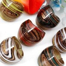 De Bijoux hurtownia Hot 24 szt. Helikoidalne złoto kolorowe folia Lampwork szklane pierścienie Murano, moda pierścienie Murano