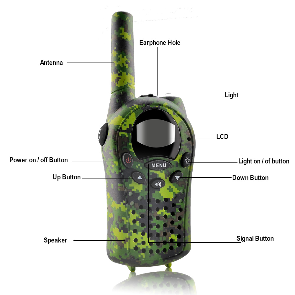 Image 4 - 2PCS/Set Kids Walkie Talkies Mini Two Way Radios Intercom Green Camo 22 Channel 446MHZ FRS Toys Interphone for Children-in Walkie Talkie from Cellphones & Telecommunications