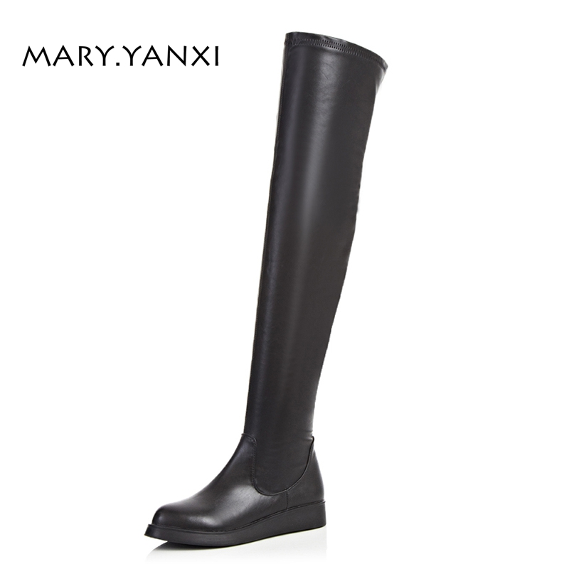 Spring/Autumn Women Shoes Knee-High Boots Long Boots Genuine Leather Flock Slip-on Round Toe Big Size Low Heels Zip Zipper Solid memunia 2017 fashion flock spring autumn single shoes women flats shoes solid pointed toe college style big size 34 47