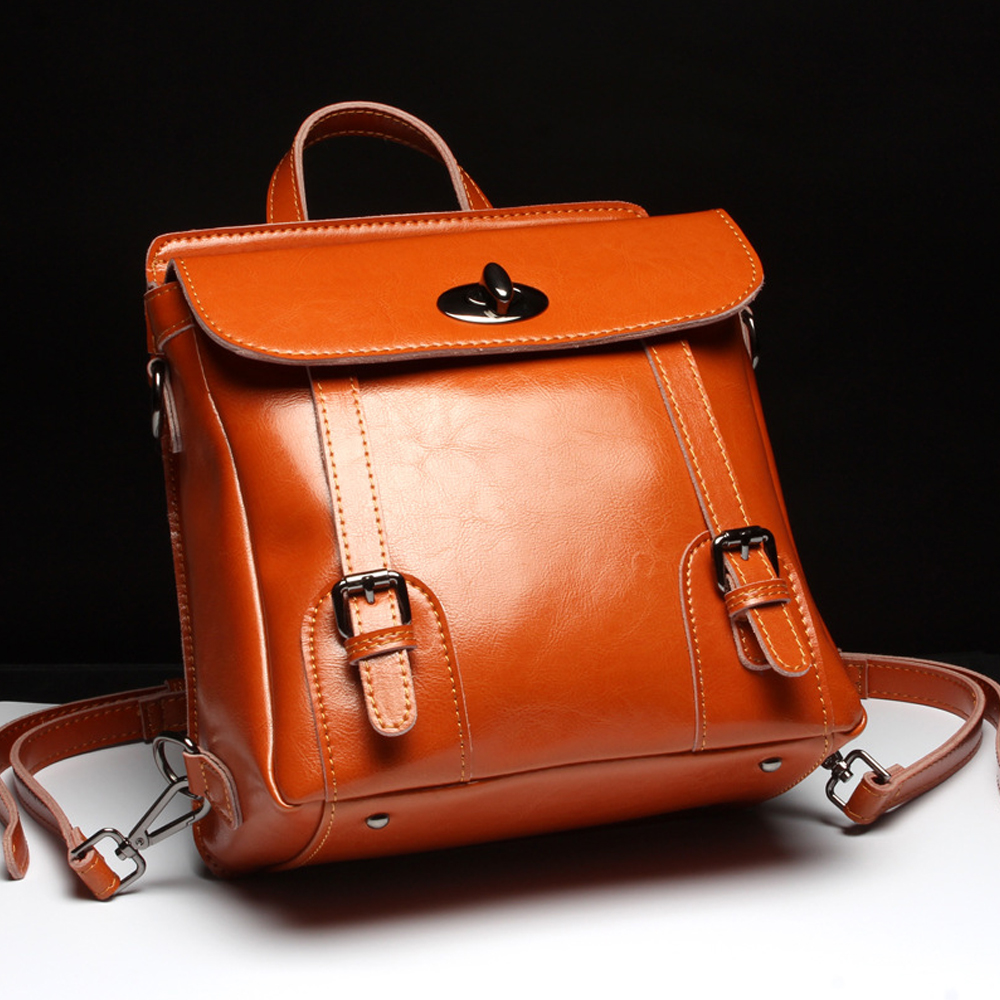New Brand High Quality Genuine Leather Women Backpack Female Vintage Backpacks Casual Bags Fashion Girls School Bag Bolsas