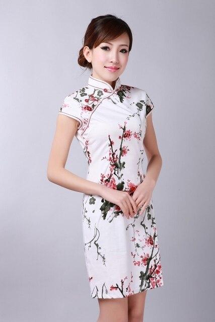 New Fashion Trends White Ladies' Cotton Dress Slim Elegant Cheongsam Top Mandarin Collar Qipao Floral Size S M L XL XXL WC023