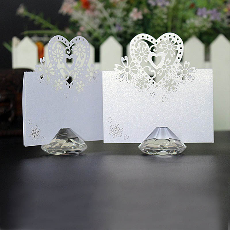 100pcs Clear Diamond Card Holder Crystal Place Card Holder For Party