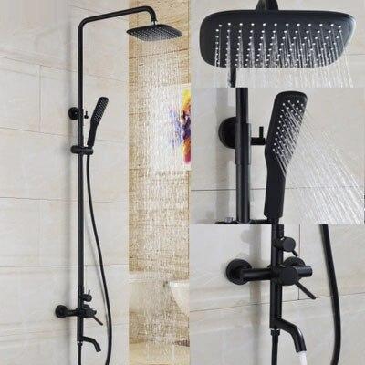 Salle de bain peinture à l'huile noire en laiton massif baignoire ensemble de douche mural 8