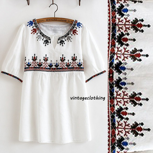 Vintage 70s Bohemian Ethnic Mexican Floral Embroidered Loose Top