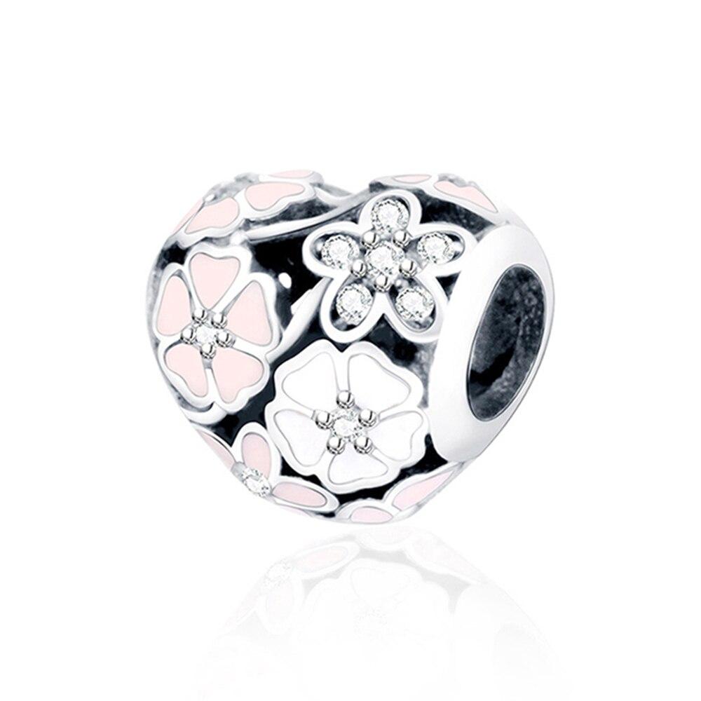 100% 925 пробы серебряные шарики Primrose Циркон Белый Розовый Эмаль Подвески Бусины Fit Пандора Стиль браслет оригинальный ювелирных изделий