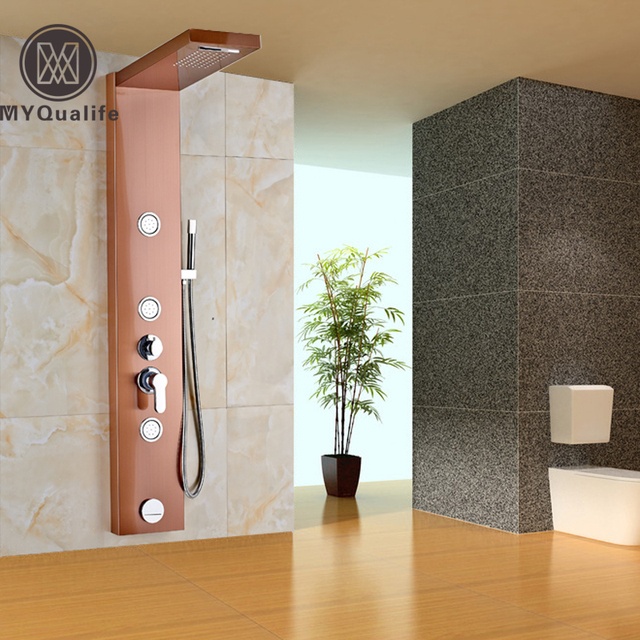 Rose Golden Wall Mounted Bath Shower Column Stainless Steel Shower Panel  Single Handle With Body Sprayer