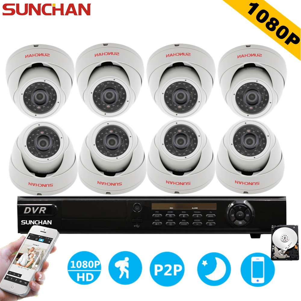 SUNCHAN HD 8CH AHD CCTV System Home Surveillance DVR Kit Video Recorder 1080P 8x2.0MP Indoor Security Camera System 1TB HDD sunchan 8ch ahdh security camera system 8 chanel dvr system 8x1080p 3000tvl indoor sony cctv camera surveillance system kit