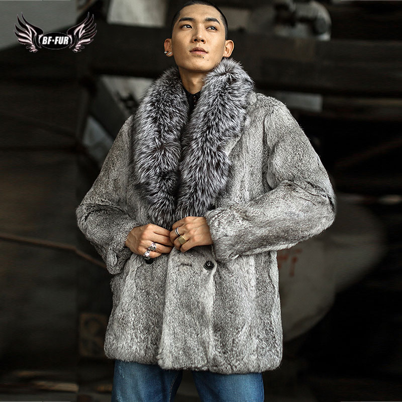 Real Fur Coat Winter Natural Leather Jackets Mens Rabbit Fur With Silver Fox Fur Collar Streetwear Long Solid Parka Real Fur Men