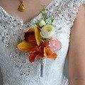 Wedding Prom Wrist Corsages Bracelet Bride Wrist Flower Groom Bridesmaid Groomsmen Boutonniere Handmade Wedding Boutonniere FE14