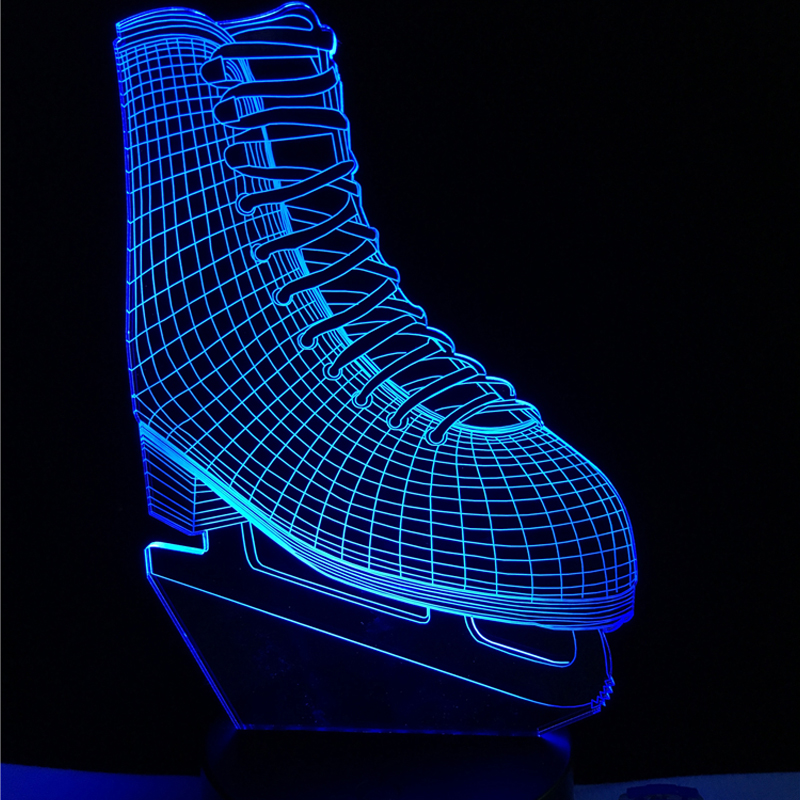 Novelty Ice Blade Hockey Skate Shoes 3D LED Lamp Acrylic Multicolor Changing Night Light Sporting Boy Room Decor Kids Toys Gift vik max hot sale cheap adult white figure hockey skate shoes ice skate shoes with high carbon steel ice blade