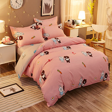 Pink bear and rabbit 4pcs bedclothes Christmas gift twin king queen double pillowcase bedspread duvet cover set bedding