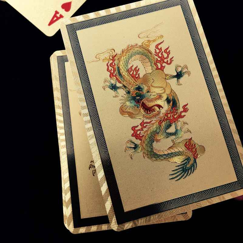 New Design Gold Foil Playing Cards Waterproof Plastic Poker Good Gift for Leisure Casino Cards Dragon/Phoenix Style for Optional
