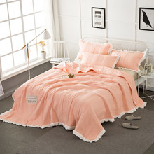 2019 Orange Solid Summer Quilt Washed Polyester Border Stitching Blanket Bedspread Set 3Pc 250x250cm Stitching Bed Covers(China)