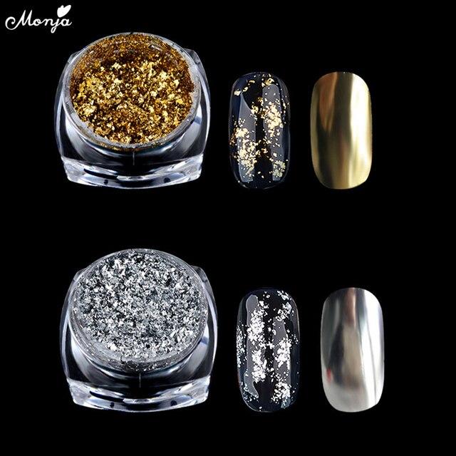 Monja Nail Art oro plata aluminio mágico espejo efecto polvo lentejuelas Gel esmalte cromado pigmento escamas decoración de manicura