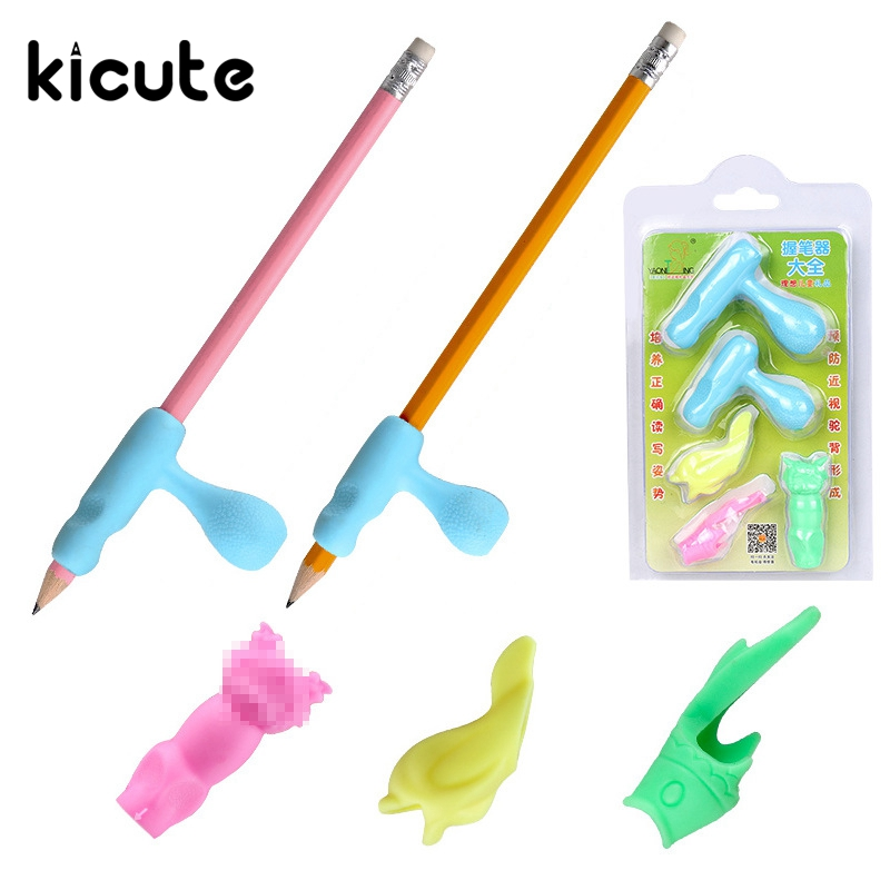 Kicute 5pcs/lot Pencil Grips Occupational Therapy Handwriting Aid Students School Statioery Pen Control Right Silicone Writing