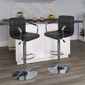 2Pcs/set Bar Stools Swivel Height Adjustable Chairs Leather