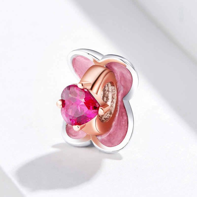 リングボックスピンク CZ ビーズチャームフィット 925 スターリングシルバーパンドラブレスレットビーズ女性の宝石 DIY