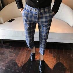Для мужчин платье брюки в клетку для бизнес на каждый день Slim облегающие рейтузы A Carreau Homme классический Винтаж проверьте костюм брюки